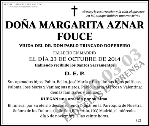 Margarita Aznar Founce